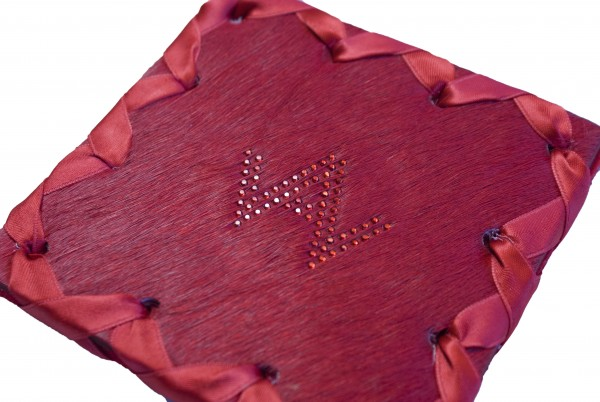 Glasuntersetzer Fell Exklusiv Rot