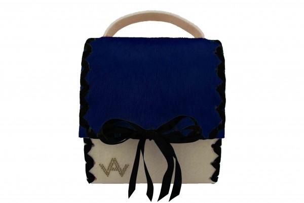 Herzerl Exklusiv Wollweiss Blau