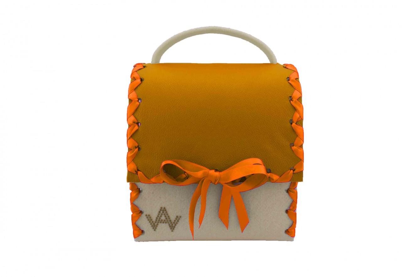 Dirndltasche AugenWaide Herzerl Wollweiss Orange